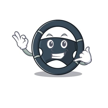 Call me funny car steering mascot picture style. Vector illustration