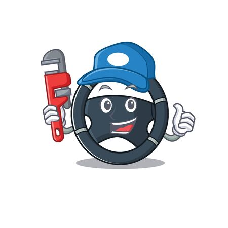 Cool Plumber car steering on mascot picture style. Vector illustration