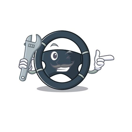 Smart Mechanic car steering cartoon character design. Vector illustration Illustration