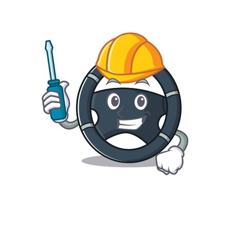 Cool automotive car steering in cartoon character style. Vector illustration