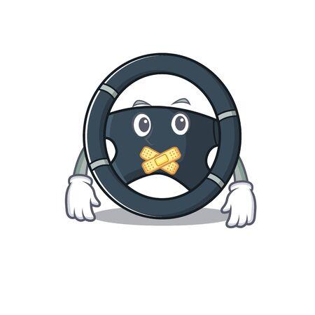 a silent gesture of car steering mascot cartoon character design. Vector illustration