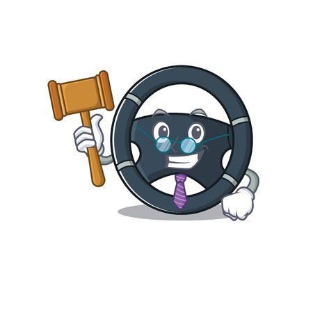Smart Judge car steering in mascot cartoon character style. Vector illustration