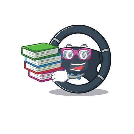 Cool and clever Student car steering mascot cartoon with book. Vector illustration Illustration