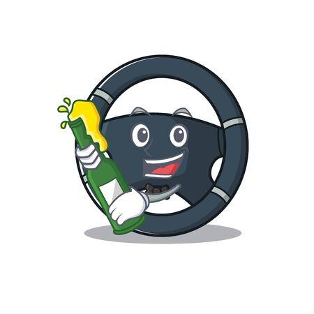 mascot cartoon design of car steering with bottle of beer. Vector illustration
