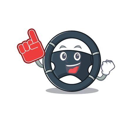 Car steering mascot cartoon style holding a Foam finger. Vector illustration