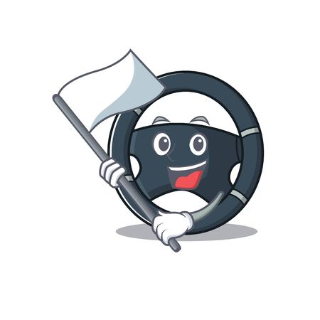 Funny car steering cartoon character style holding a standing flag