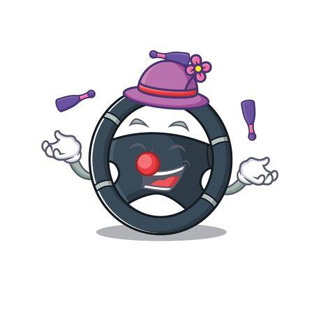 Smart car steering cartoon character design playing Juggling