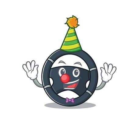 Funny Clown car steering cartoon character mascot design Illustration