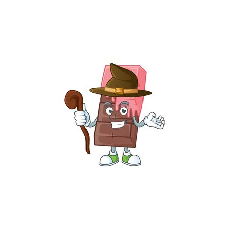 cartoon mascot style of chocolate bar with pink cream dressed as a witch. Vector illustration