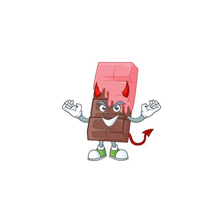 Devil chocolate bar with pink cream Cartoon character design. Vector illustration