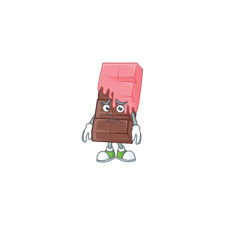 A picture of chocolate bar with pink cream showing afraid look face. Vector illustration