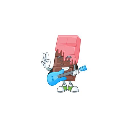 A mascot of chocolate bar with pink cream performance with guitar. Vector illustration