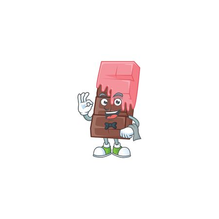 Friendly chocolate bar with pink cream Character stand as a Waiter character. Vector illustration