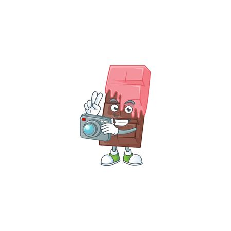 Cool Photographer chocolate bar with pink cream character with a camera. Vector illustration
