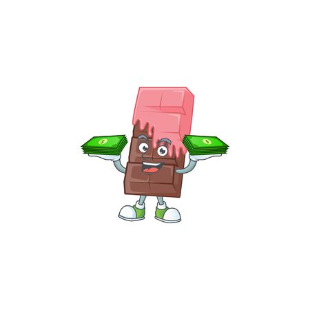 happy rich chocolate bar with pink cream character with money on hands. Vector illustration Illustration