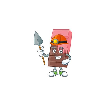 Cool clever Miner chocolate bar with pink cream cartoon character design. Vector illustration Illustration