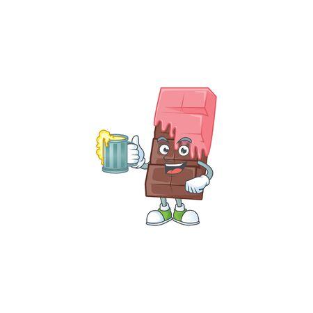Happy chocolate bar with pink cream mascot design with a big glass. Vector illustration Ilustração