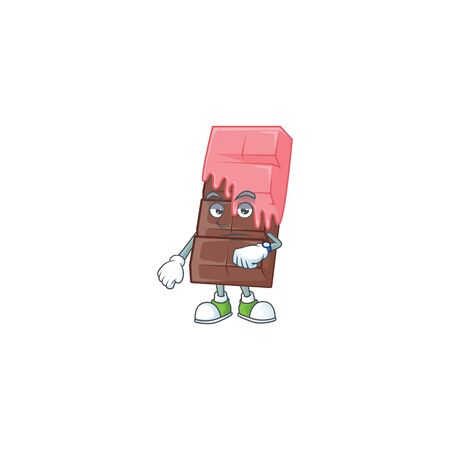 cartoon character design of chocolate bar with pink cream on a waiting gesture. Vector illustration