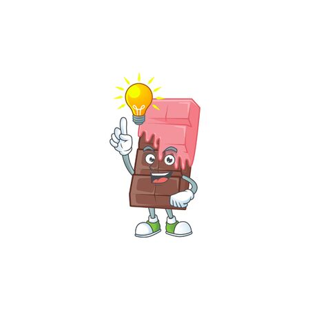 Have an idea gesture of chocolate bar with pink cream cartoon character design. Vector illustration