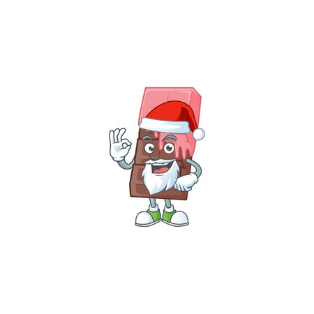 A picture of Santa chocolate bar with pink cream mascot picture style with ok finger. Vector illustration