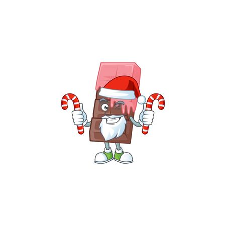 Chocolate bar with pink cream Cartoon character in Santa costume with candy. Vector illustration Illustration