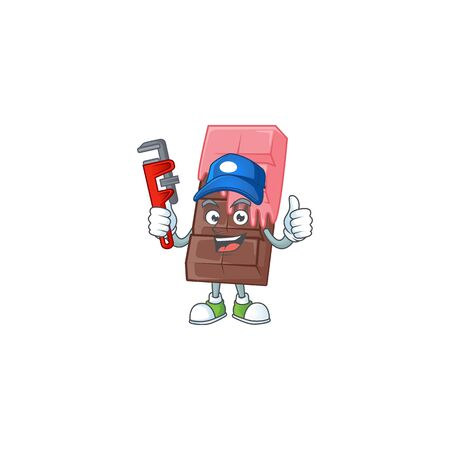 Cool Plumber chocolate bar with pink cream on mascot picture style. Vector illustration