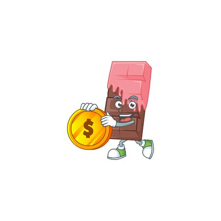 Rich chocolate bar with pink cream mascot cartoon design style with gold coin. Vector illustration
