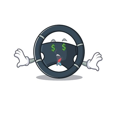 Happy rich car steering with Money eye cartoon character style