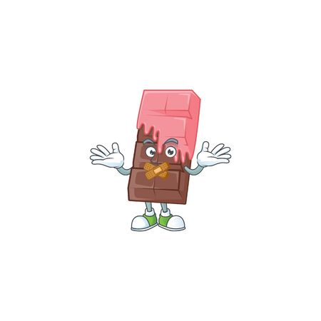 a silent gesture of chocolate bar with pink cream mascot cartoon character design