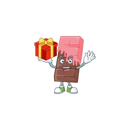 Happy face chocolate bar with pink cream cartoon character having a box of gift