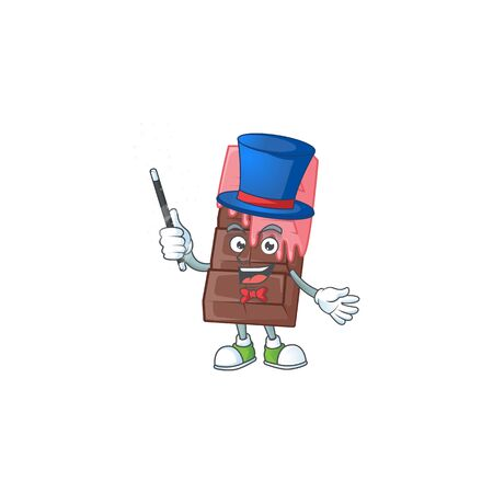 A picture of chocolate bar with pink cream performance as a Magician. Vector illustration