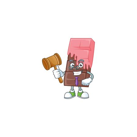 Smart Judge chocolate bar with pink cream in mascot cartoon character style. Vector illustration Illustration