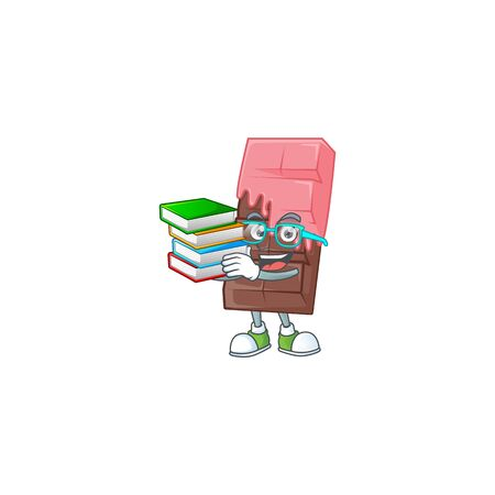 Cool and clever Student chocolate bar with pink cream mascot cartoon with book