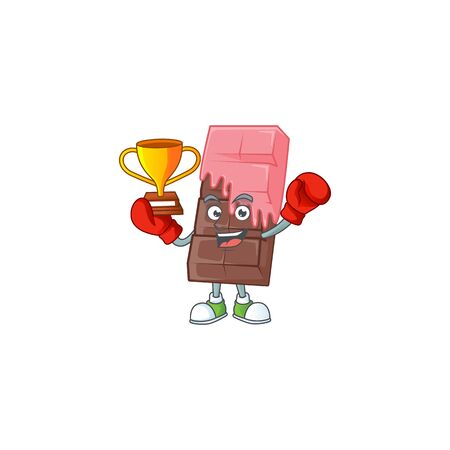 fantastic Boxing winner of chocolate bar with pink cream in mascot cartoon style