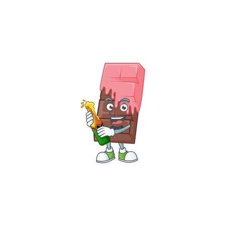 mascot cartoon design of chocolate bar with pink cream with bottle of beer. Vector illustration Illustration