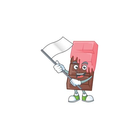 Funny chocolate bar with pink cream cartoon character style holding a standing flag