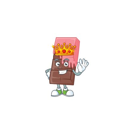 A stunning of chocolate bar with pink cream stylized of King on cartoon mascot style