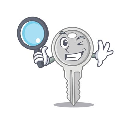 Cool and Smart key Detective cartoon mascot style