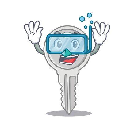 cartoon character of key wearing Diving glasses