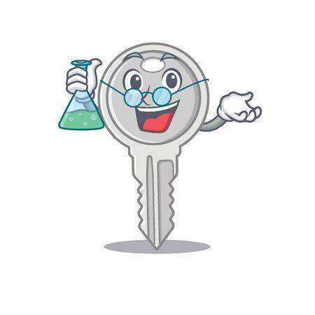Smart Professor key cartoon character with glass tube