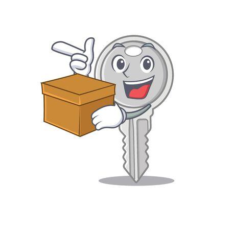 Cute key cartoon character having a box