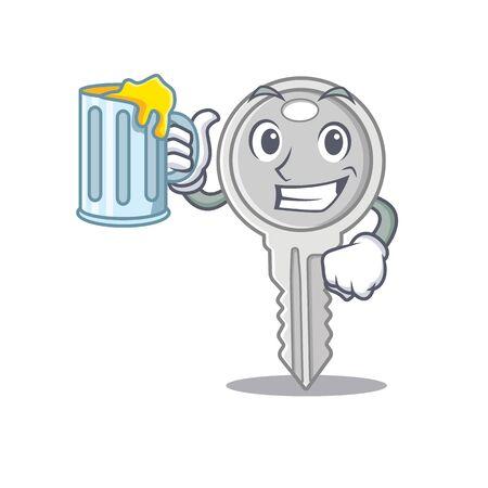 Happy key mascot design with a big glass Ilustração