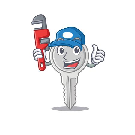 Cool Plumber key on mascot picture style 向量圖像