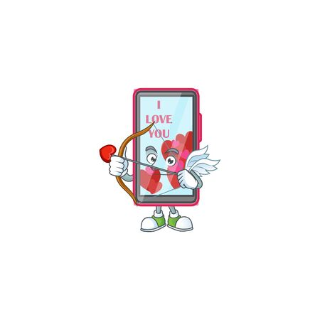 A romantic sweet smartphone love Cupid with arrow and wings