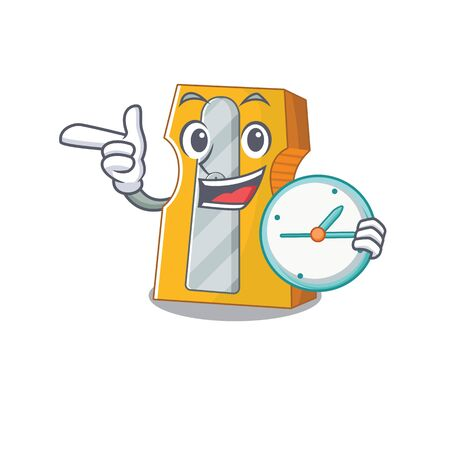 cartoon character style pencil sharpener having clock. Vector illustration Reklamní fotografie - 137672196