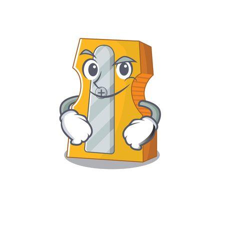 Personnage cool de mascotte de taille-crayon avec un visage souriant. Illustration vectorielle Vecteurs