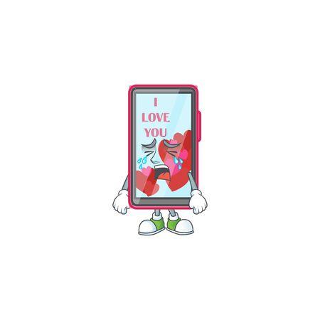 Triste du style de mascotte de dessin animé d'amour de smartphone