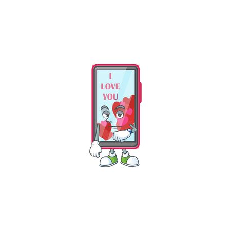 cartoon character design of smartphone love on a waiting gesture  イラスト・ベクター素材