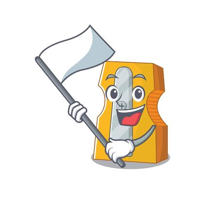 Funny pencil sharpener cartoon character style holding a standing flag. Vector illustration