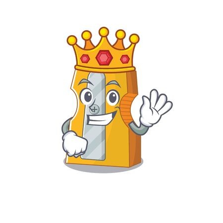 A stunning of pencil sharpener stylized of King on cartoon mascot style. Vector illustration